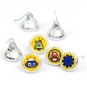 Robots - Party Favors Round Baby Shower Candy Labels - Fits Hershey's Kisses - 108 ct