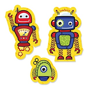 Robots - Shaped Baby Shower Paper Cut-Outs - 24 ct