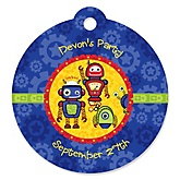 Robots - Round Personalized Party Tags - 20 ct