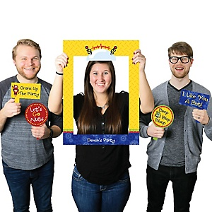 Robots - Personalized Birthday Party or Baby Shower Photo Booth Picture Frame & Props - Printed on Sturdy Plastic Material