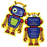 Robots - Boy Shaped Baby Shower Invitations