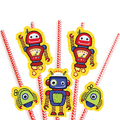 Robots Baby Shower Straw Decorations