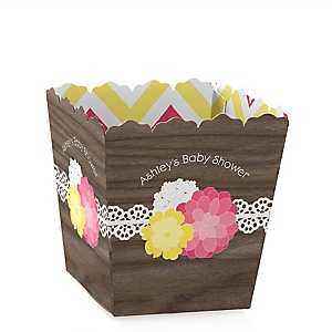 Rustic Floral - Personalized Baby Shower Candy Boxes