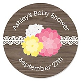 Rustic Floral - Personalized Baby Shower Round Sticker Labels - 24 Count