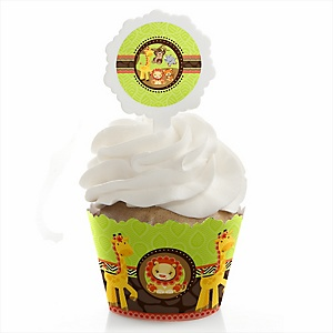 Funfari™ - Fun Safari Jungle - Baby Shower Cupcake Wrapper & Pick Party Kit - 24 Count