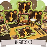 Funfari™ - Fun Safari Jungle - 16 Person Baby Shower Kit