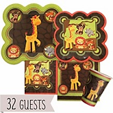 Funfari™ - Fun Safari Jungle - Baby Shower Tableware Bundle for 32 Guests