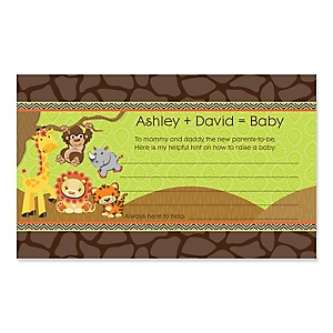 Funfari™ - Fun Safari Jungle - Baby Shower Helpful Hint Advice Cards Game - 18 Count