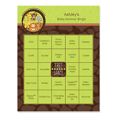Funfari™   Fun Safari Jungle   Personalized Baby Shower Game Bingo Cards    16 Ct