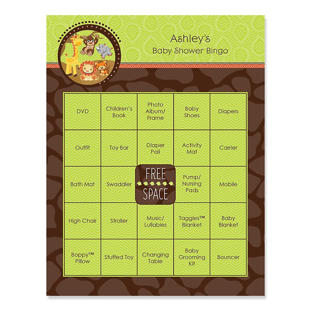 Fun Safari Jungle Baby Shower Theme Part - 26: Funfari™ - Fun Safari Jungle - Bingo Personalized Baby Shower Games - 16  Count
