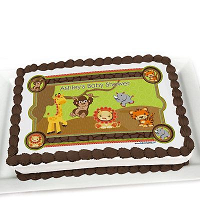 Funfari™ - Fun Safari Jungle - Personalized Baby Shower Cake Image Topper