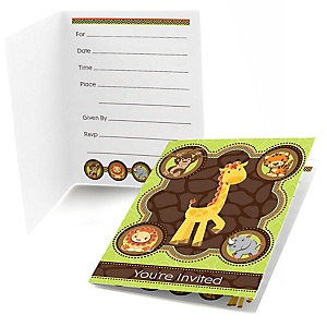 Funfari™ - Fun Safari Jungle - Fill In Baby Shower Invitations - Set of  8