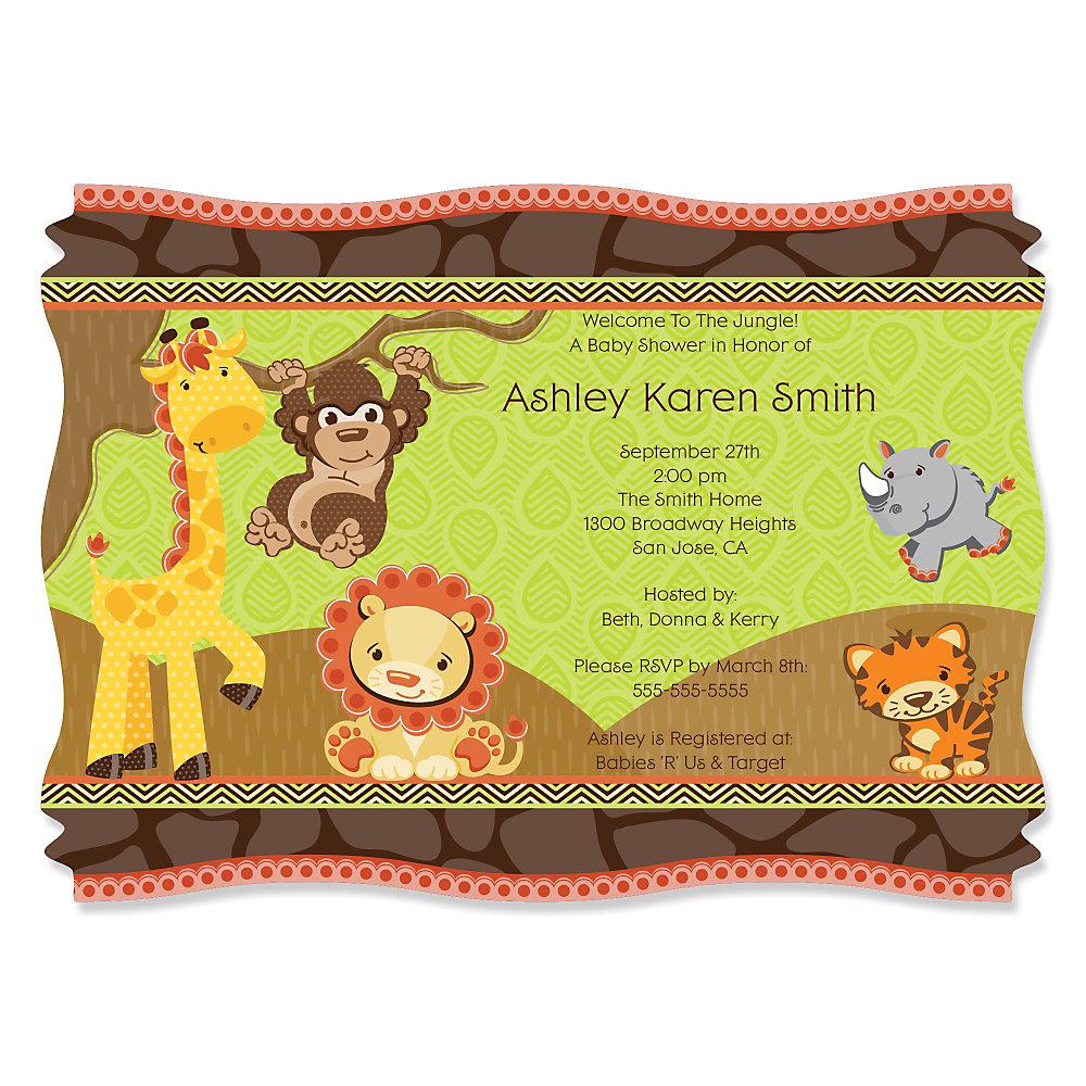 funfari fun safari jungle personalized baby shower invitations