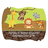 Funfari™ - Fun Safari Jungle - Personalized Baby Shower Squiggle Sticker Labels - 16 Count