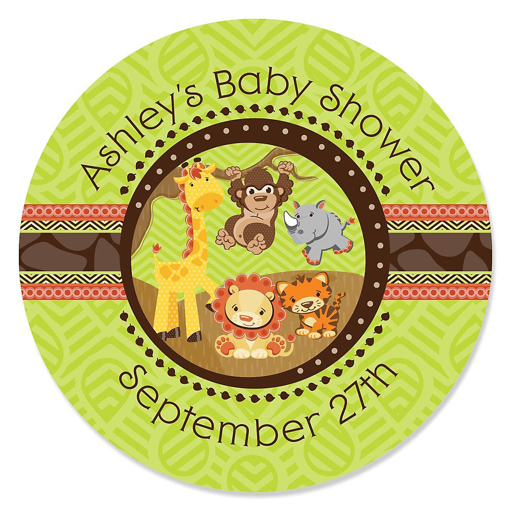 Fun Safari Jungle Baby Shower Theme Part - 36: Funfari™ - Fun Safari Jungle - Personalized Baby Shower Sticker Labels - 24  Ct