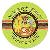 Funfari™ - Fun Safari Jungle - Personalized Baby Shower Round Sticker Labels - 24 Count