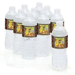 Funfari™ - Fun Safari Jungle - Baby Shower Personalized Water Bottle Sticker Labels - 10 Count
