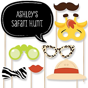 Funfari™ - Fun Safari Jungle - Baby Shower Photo Booth Props Kit - 20 Props