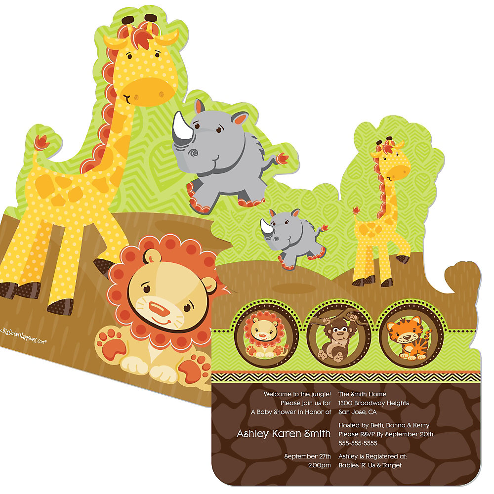 Beautiful Fun Safari Jungle Baby Shower Theme Part - 3: Funfari™ - Fun Safari Jungle - Shaped Baby Shower Invitations
