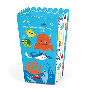 Under The Sea Critters - Personalized Party Popcorn Favor Boxes