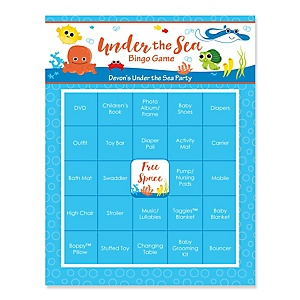 Under The Sea Critters - Bingo Personalized Baby Shower Games - 16 Count