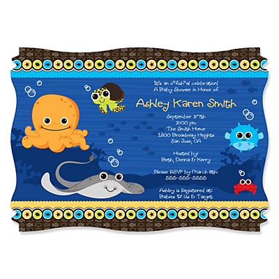 under the sea critters personalized baby shower invitations