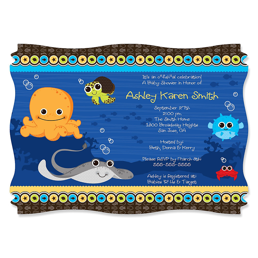 Sea Themed Baby Shower Invitations Images - Invitation Templates ...