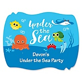 Under The Sea Critters - Personalized Baby Shower Squiggle Stickers - 16 ct