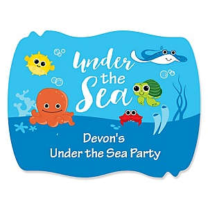 Under The Sea Critters - Personalized Baby Shower Squiggle Sticker Labels - 16 Count