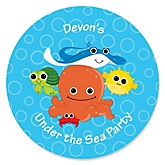 Under The Sea Critters - Personalized Baby Shower Round Sticker Labels - 24 Count