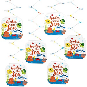 Under The Sea Critters - Baby Shower Hanging Decorations - 6 Count