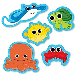 Under The Sea Critters - Shaped Baby Shower Paper Cut-Outs - 24 ct