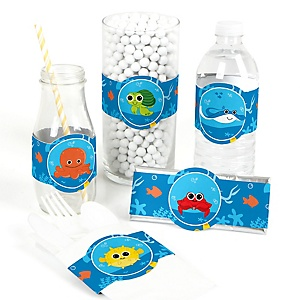 Under The Sea Critters - Do It Yourself Baby Shower Wrappers - 15 Count
