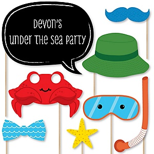 Under The Sea Critters - Baby Shower Photo Booth Props Kit - 20 Props