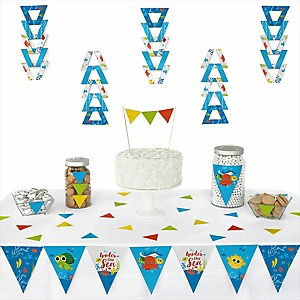 Under The Sea Critters - Baby Shower Triangle Decoration Kits - 72 Count