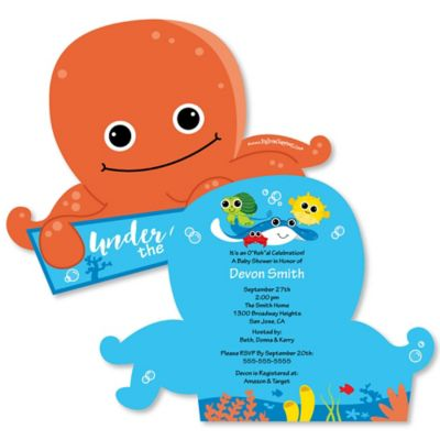 under the sea critters shaped baby shower invitations