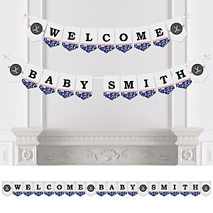 Shoots & Scores! - Hockey - Personalized Baby Shower Bunting Banner
