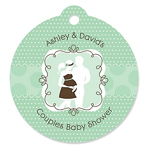Silhouette Couples Baby Shower - It's A Baby - Round Personalized Baby Shower Die-Cut Tags - 20 ct