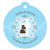 Silhouette Couples Baby Shower - It's A Boy - Round Personalized Baby Shower Die-Cut Tags - 20 ct