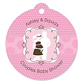 Silhouette Couples Baby Shower - It's A Girl - Personalized Baby Shower Round Tags - 20 Count