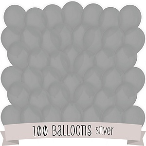 Gray/Silver - Party Latex Balloons - 100 ct