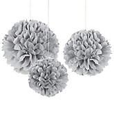 Gray/Silver - Baby Shower Decorations - Set of 3