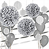 Gray/Silver & White - Party Decoration Kit