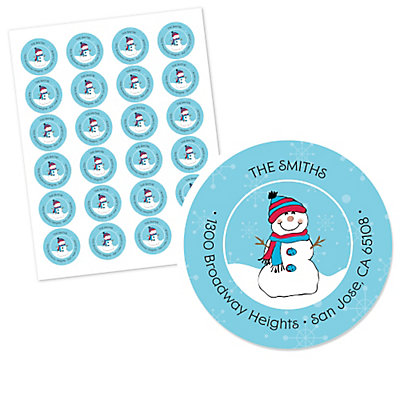 Snowman - Round Personalized Holiday Party Return Address Labels - Set of 24