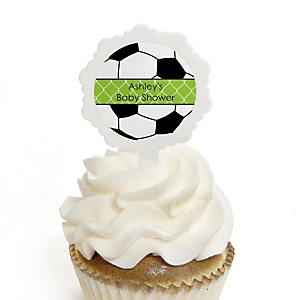 GOAAAL! - Soccer - 12 Cupcake Picks & 24 Personalized Stickers - Baby Shower Cupcake Toppers
