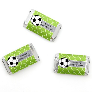 GOAAAL! - Soccer - Personalized Baby Shower Mini Candy Bar Wrapper Favors - 20 ct