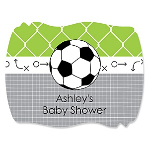 GOAAAL! - Soccer - Personalized Baby Shower Squiggle Sticker Labels - 16 Count