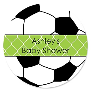 GOAAAL! - Soccer - Personalized Baby Shower Round Sticker Labels - 24 Count