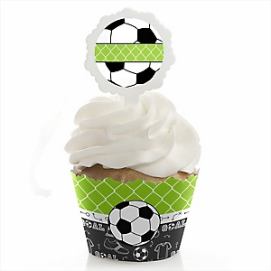 GOAAAL! - Soccer - Baby Shower Cupcake Wrapper & Pick Party Kit - 24 Count