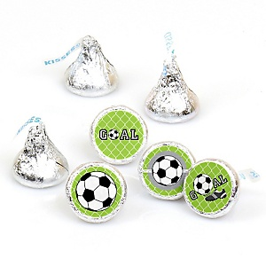 GOAAAL! - Soccer - Party Favors Round Baby Shower Candy Labels - Fits Hershey's Kisses - 108 Count